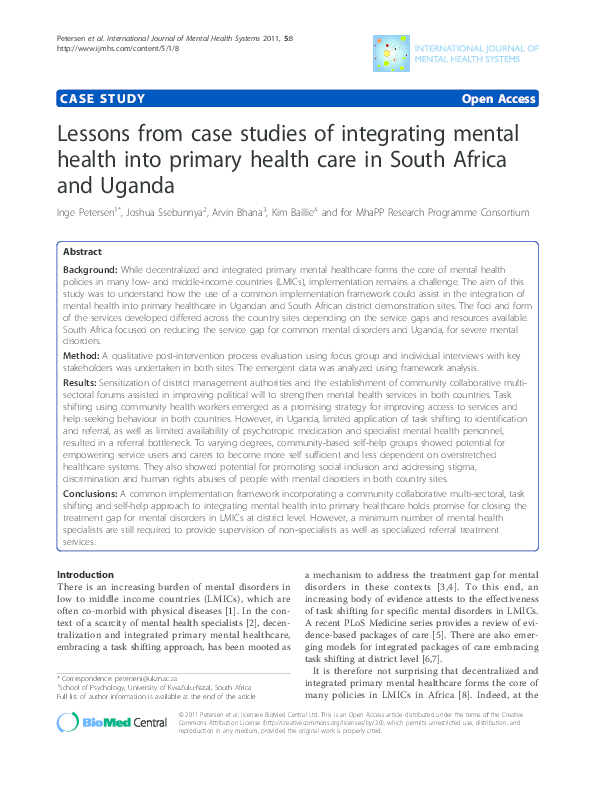 PDF) Lessons from case studies of integrating mental health