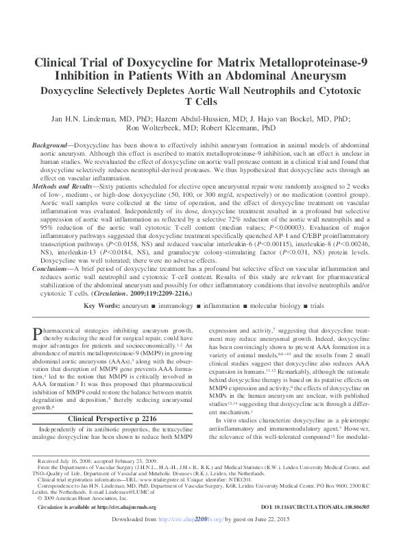 PDF) Clinical Trial of Doxycycline for Matrix