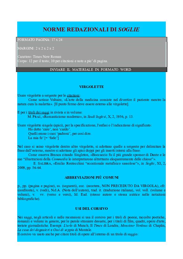 Doc Norme Editoriali Soglie Rivista Quadrimestrale Di