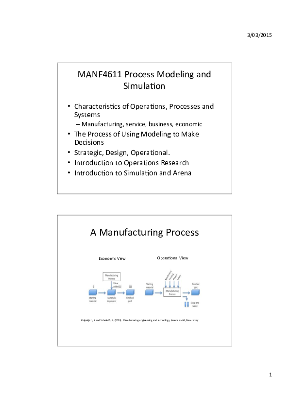 PDF) MANF4611 Process Modeling and Simula=on A Manufacturing
