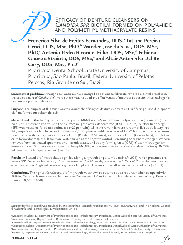 PDF) Efficacy of denture cleansers on Candida spp  biofilm