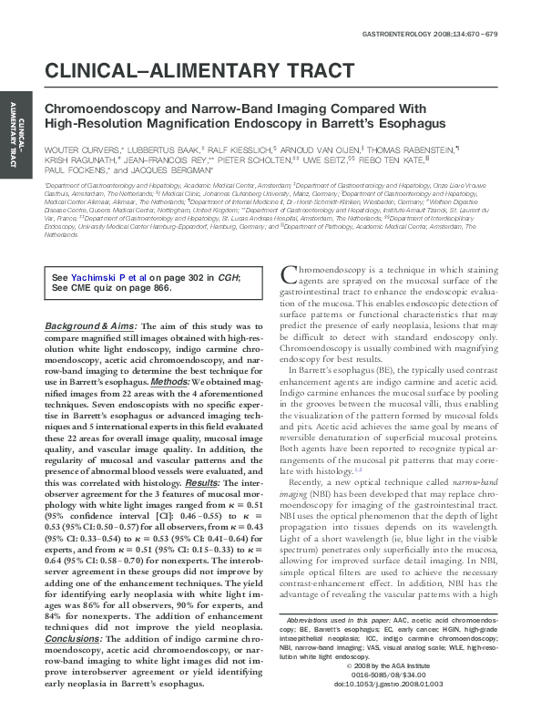 PDF) Chromoendoscopy and Narrow-Band Imaging Compared With