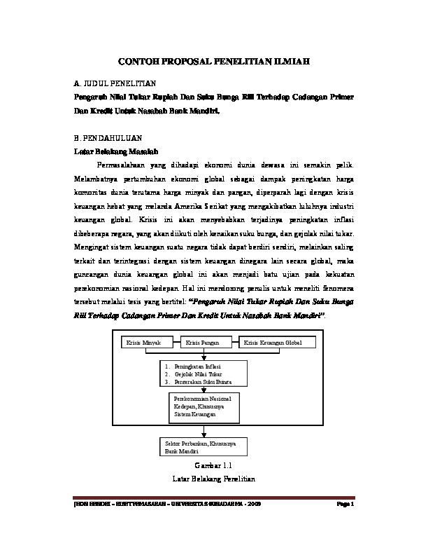 Pdf Contoh Proposal Penelitian Ilmiah Sari Ms Academia Edu