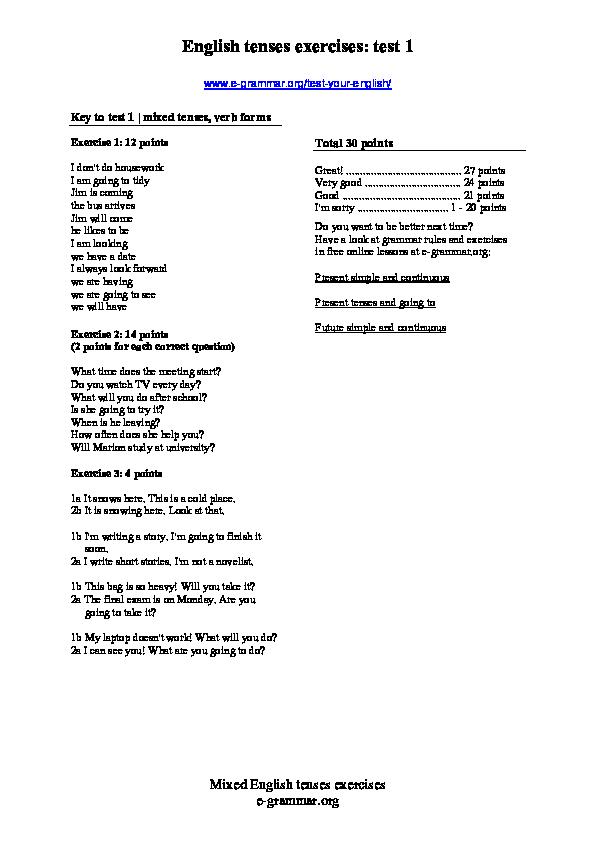 PDF) English tenses exercises: test 1 | Júlio César