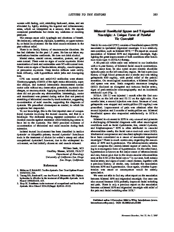 Pdf Bilateral Hemifacial Spasm And Trigeminal Neuralgia A Unique Form Of Painful Tic Convulsif Henrique Ferraz And Vanderci Borges Academia Edu