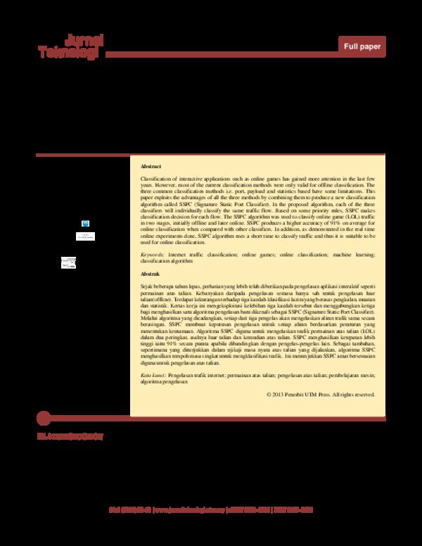 PDF) Internet Traffic Classification Algorithm Based on