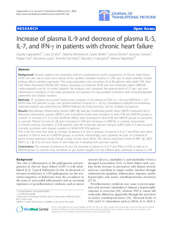 PDF) Increase of plasma IL-9 and decrease of plasma IL-5, IL-7, and