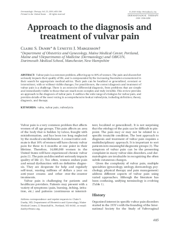 PDF) Approach to the diagnosis and treatment of vulvar pain
