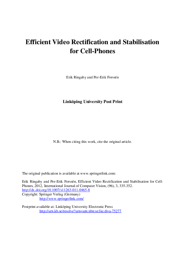 PDF) Efficient Video Rectification and Stabilisation for