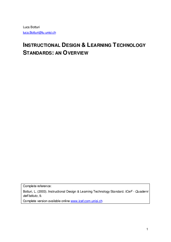 Pdf Instructional Design Learning Technology Standards L Botturi Academia Edu