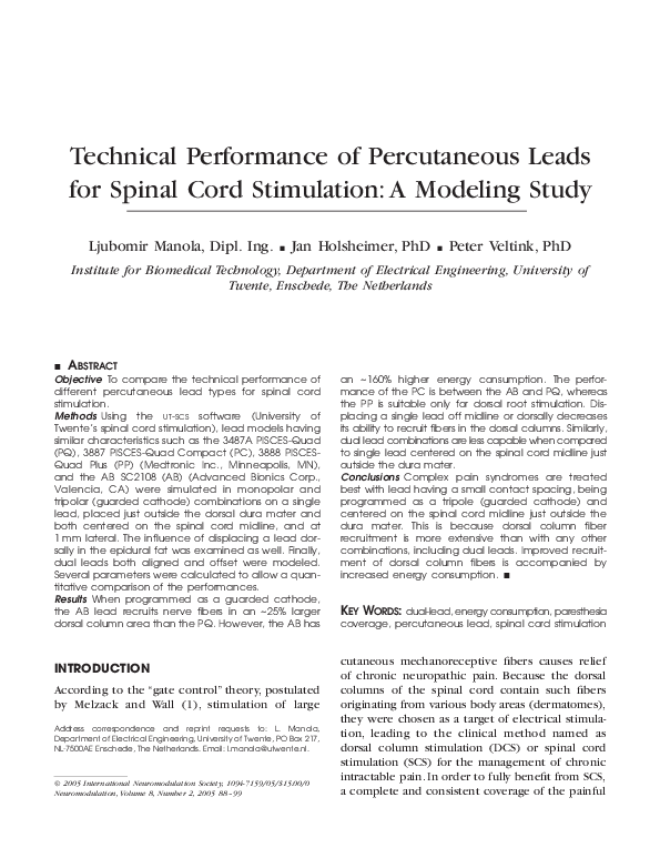 PDF) Technical Performance of Percutaneous Leads for Spinal Cord