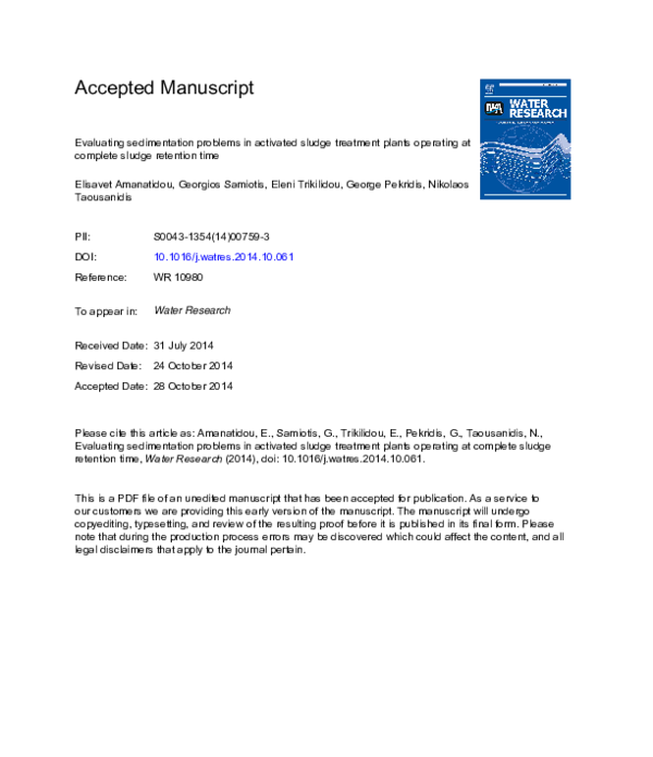 PDF) Evaluating sedimentation problems in activated sludge