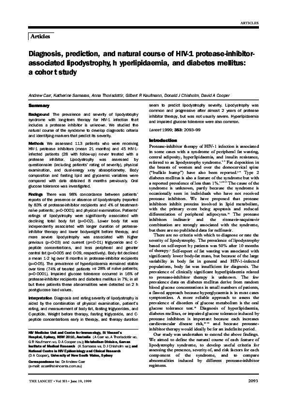 PDF) Diagnosis, prediction, and natural course of HIV-1 protease