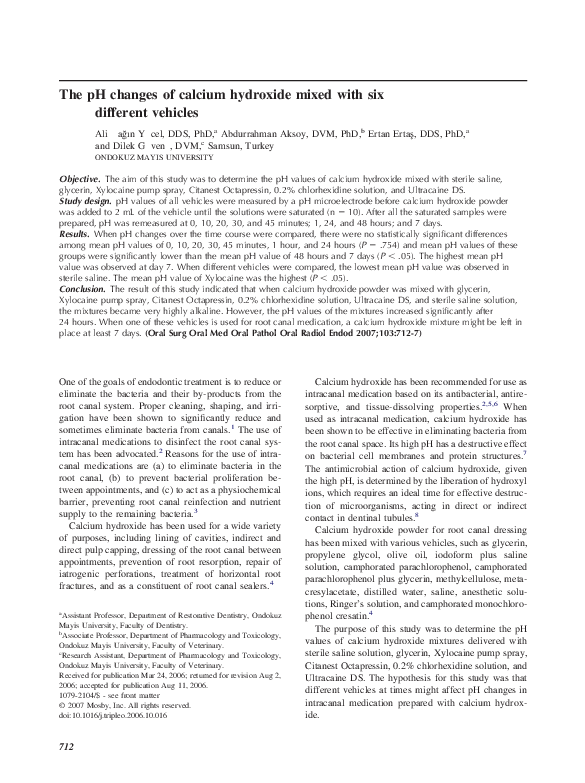 PDF) The pH changes of calcium hydroxide mixed with six different