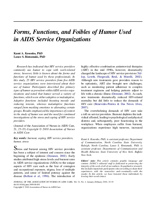 PDF) Forms, Functions, and Foibles of Humor Used in AIDS