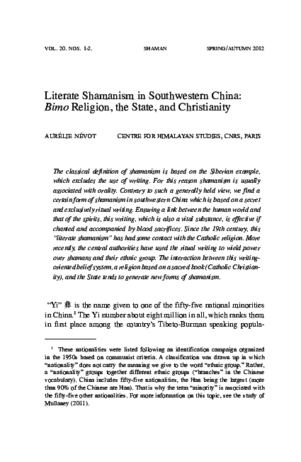 PDF) « Literate Shamanism in Southwestern China: Bimo Religion, the