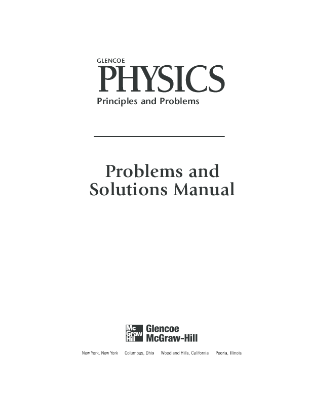 PDF) Problems and Solutions Manual GLENCOE PHYSICS Principles and