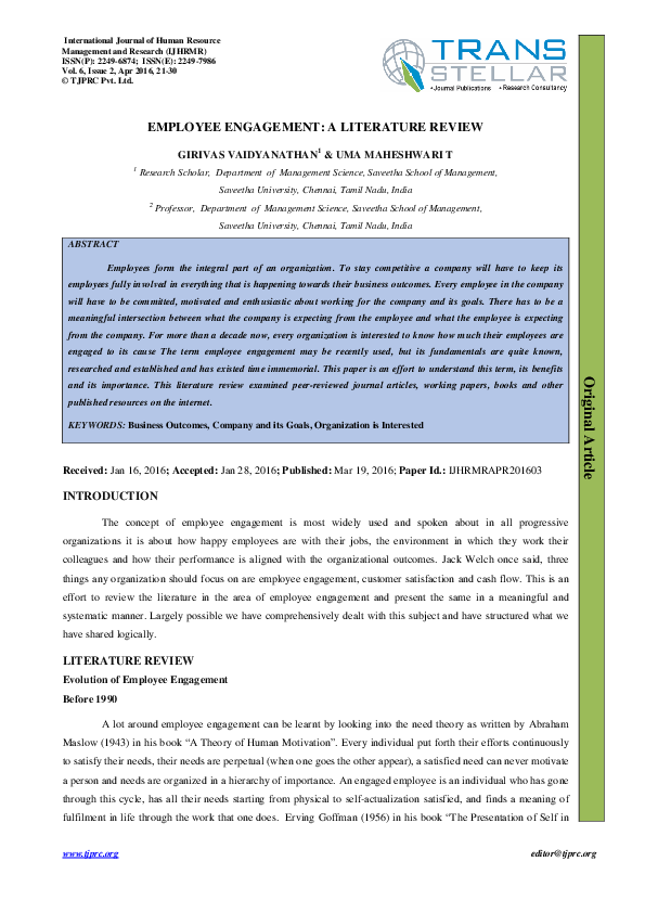employee engagement literature review doc