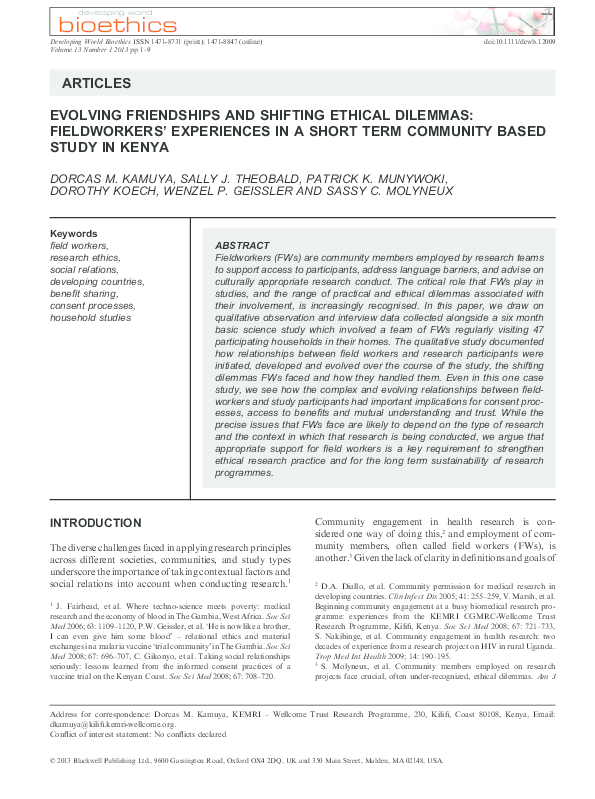 PDF) Evolving Friendships and Shifting Ethical Dilemmas