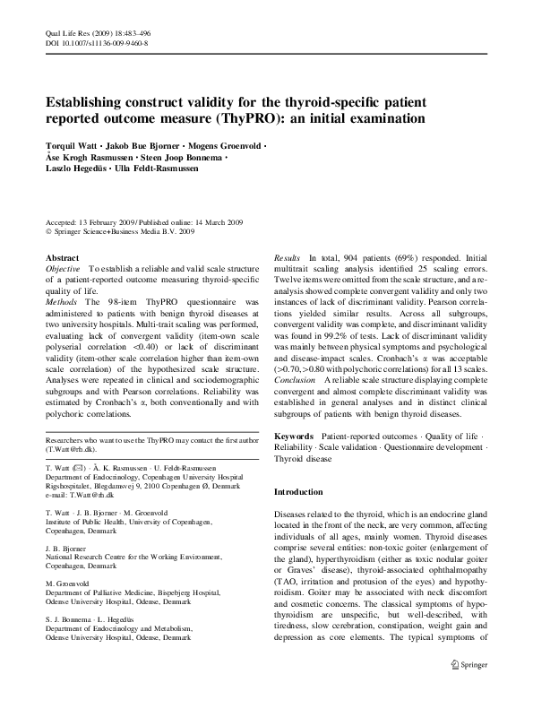 Pdf Establishing Construct Validity For The Thyroid Specific