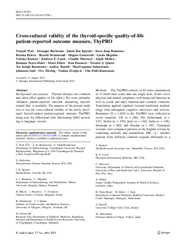 Pdf Cross Cultural Validity Of The Thyroid Specific Quality Of