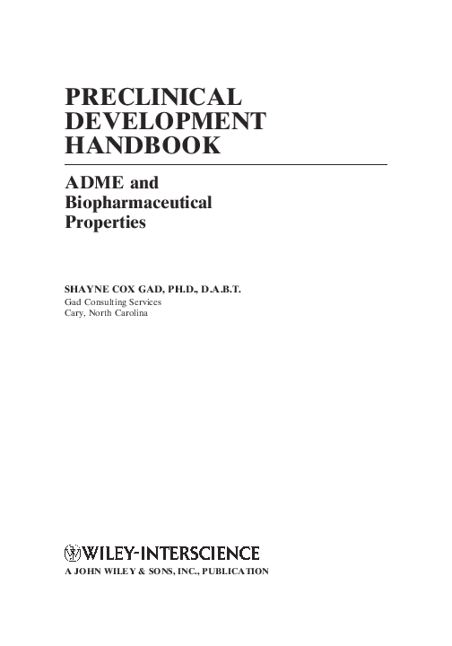 Preclinical Development Handbook Adme And Biopharmaceutical