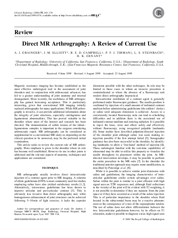 PDF) Direct MR Arthrography: A Review of Current Use | Phillip