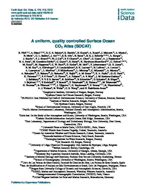 PDF) A uniform, quality controlled Surface Ocean CO<sub>2