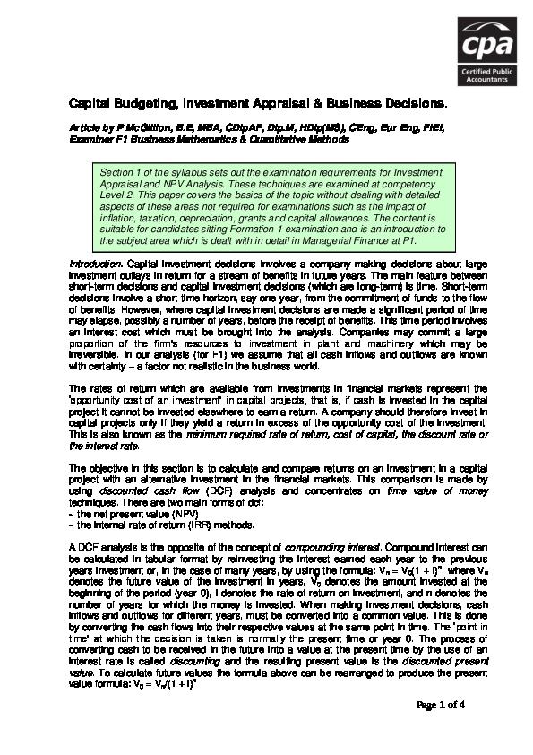 capital investment appraisal pdf creator