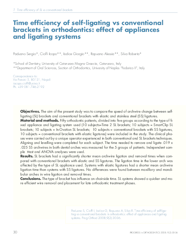 PDF) Time efficiency of self-ligating vs conventional