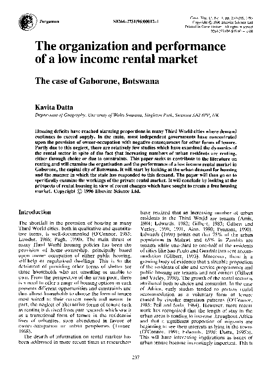 PDF) The organization and performance of a low income rental