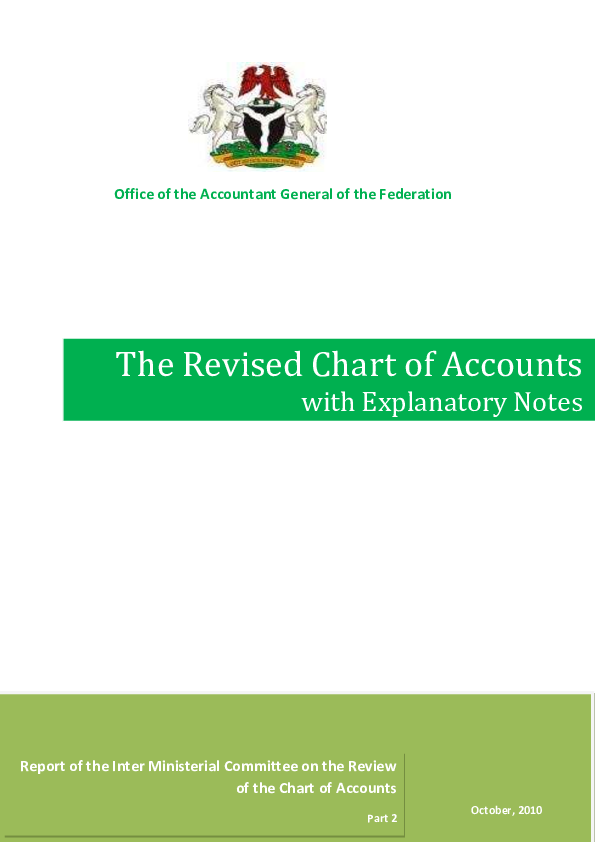 Pdf The Revised Chart Of Accounts With Explanatory Notes Office Of The Accountant General Of The Federation Report Of The Inter Ministerial Committee On The Review Of The Chart Of Accounts