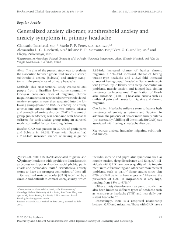 PDF) Generalized anxiety disorder, subthreshold anxiety and anxiety