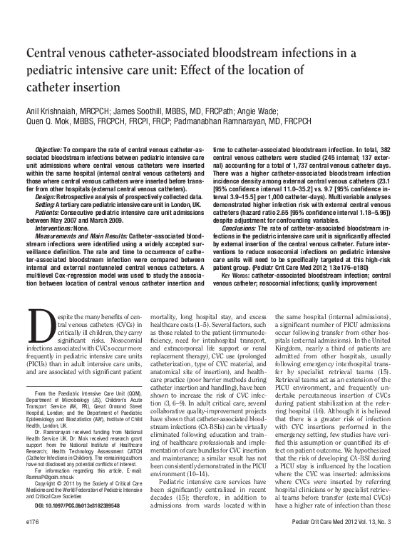(PDF) Central venous catheter-associated bloodstream ...