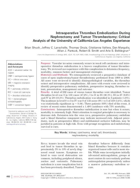 PDF) Intraoperative Thrombus Embolization During Nephrectomy