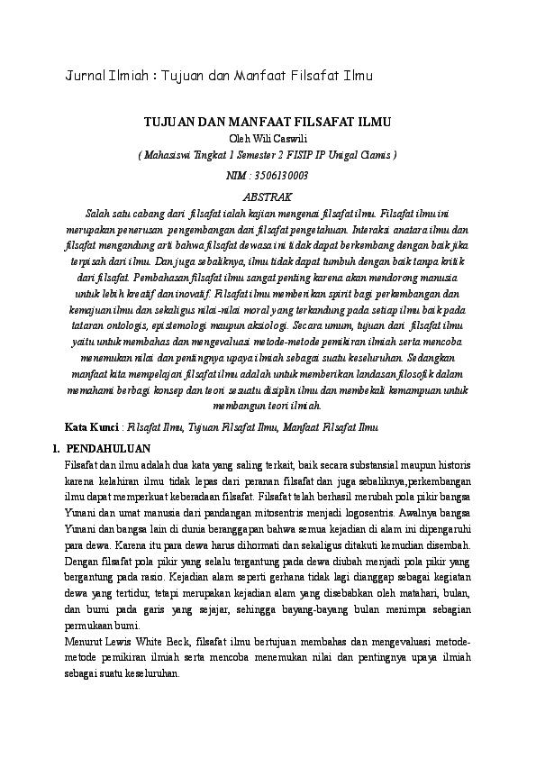 Doc Jurnal Ilmiah Tujuan Dan Manfaat Filsafat Ilmu Tujuan Dan Manfaat Filsafat Ilmu Yovie Madridsta Academia Edu