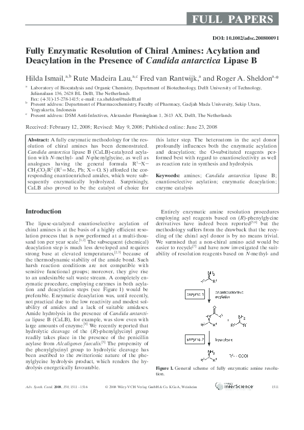 PDF) Fully Enzymatic Resolution of Chiral Amines: Acylation