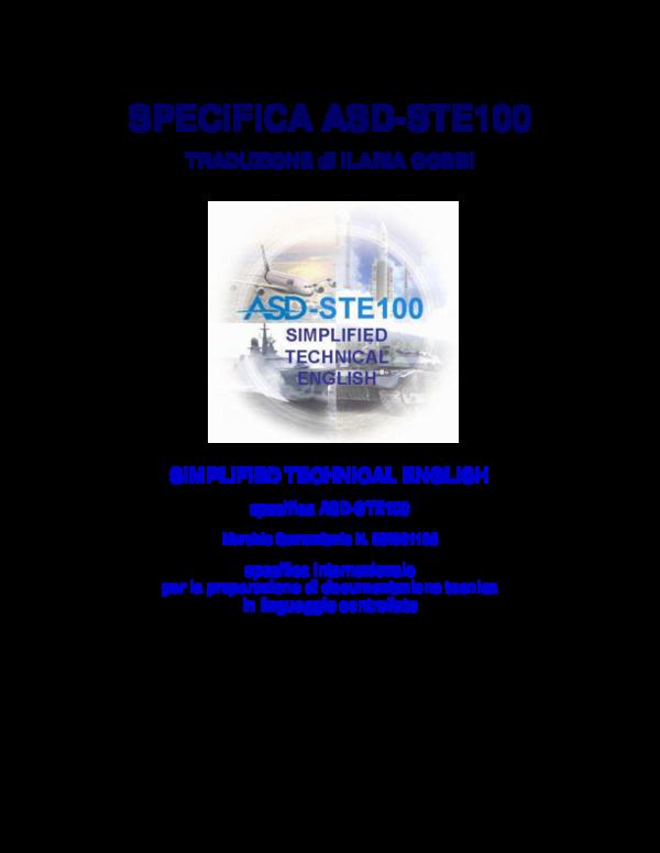 PDF) Traduzione italiana della specifica ASD-STE100 Simplified