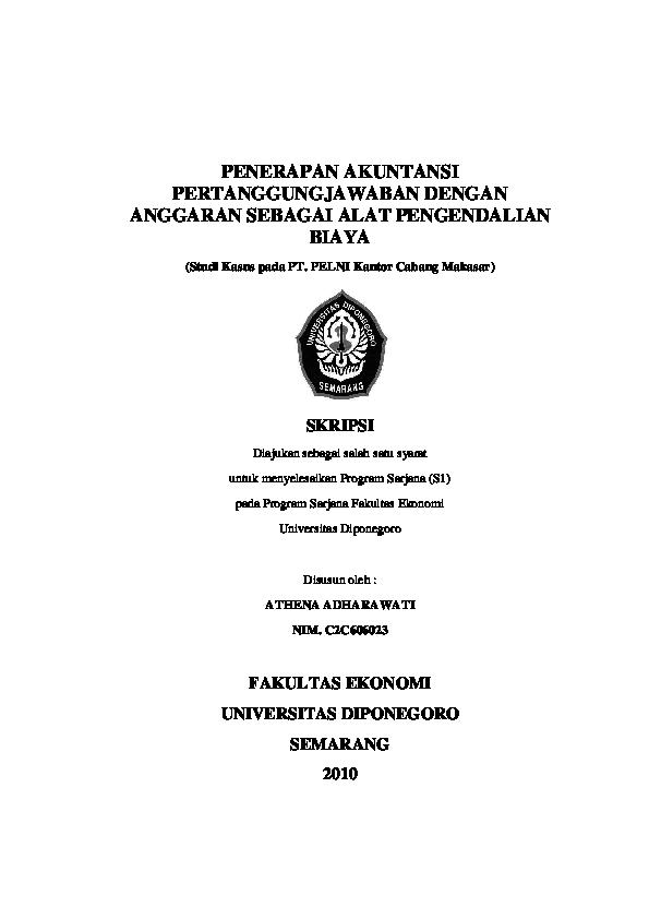 Pdf Penerapan Akuntansi Pertanggungjawaban Dengan Anggaran Sebagai Alat Pengendalian Biaya Studi Kasus Pada Pt Pelni Kantor Cabang Makasar Aisyah Maryamkhadijah Academia Edu