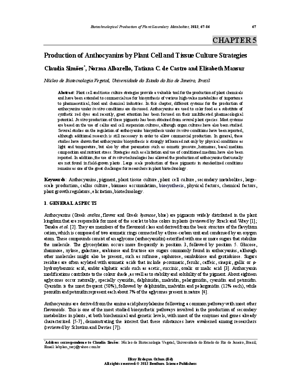 PDF) Production of anthocyanins by plant cell and tissue culture