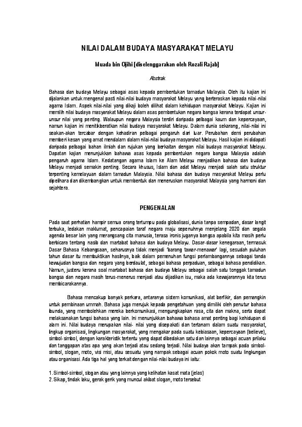 Pdf Nilai Dalam Budaya Masyarakat Melayu Muada Bin Ojihi Diselenggarakan Oleh Rozali Rajab Khairul Firdaus Academia Edu