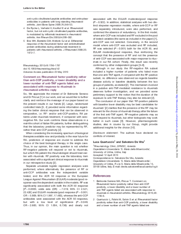 PDF) Comment on: Rheumatoid factor positivity rather than