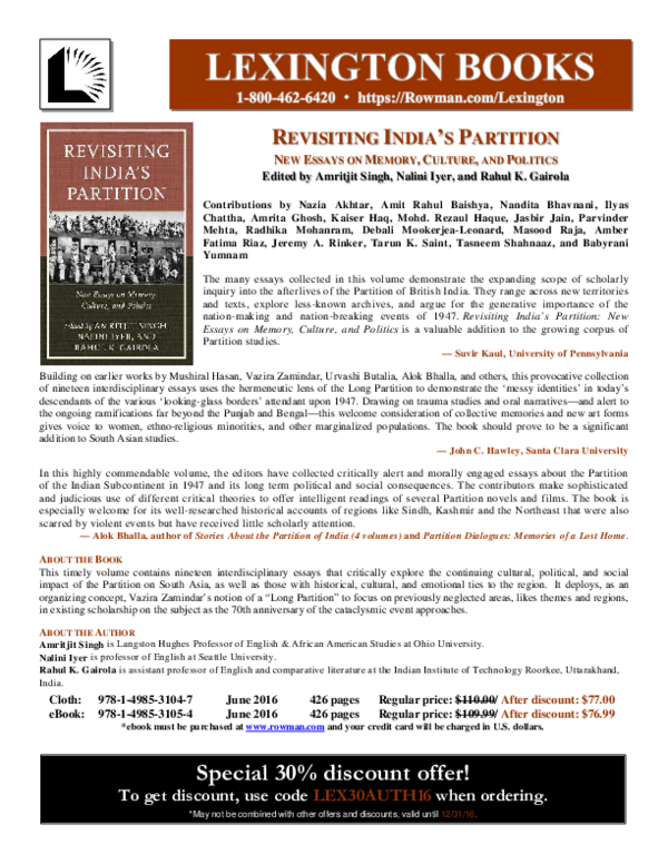 PDF) Revisiting India's Partition: New Essays in Memory