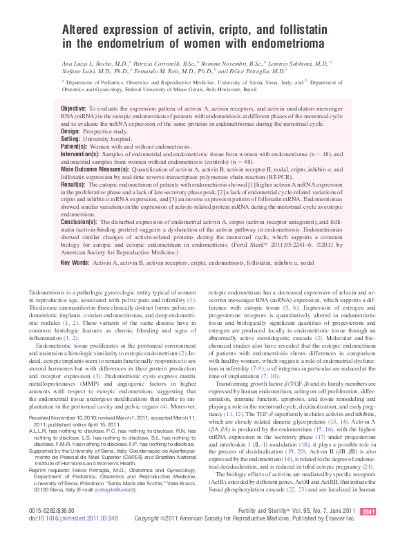 PDF) Altered expression of activin, cripto, and follistatin