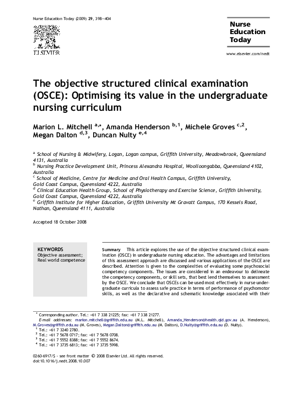 PDF) The objective structured clinical examination (OSCE