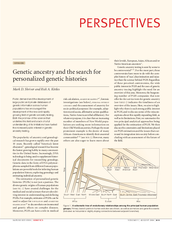 PDF) Genetic ancestry and the search for personalized genetic