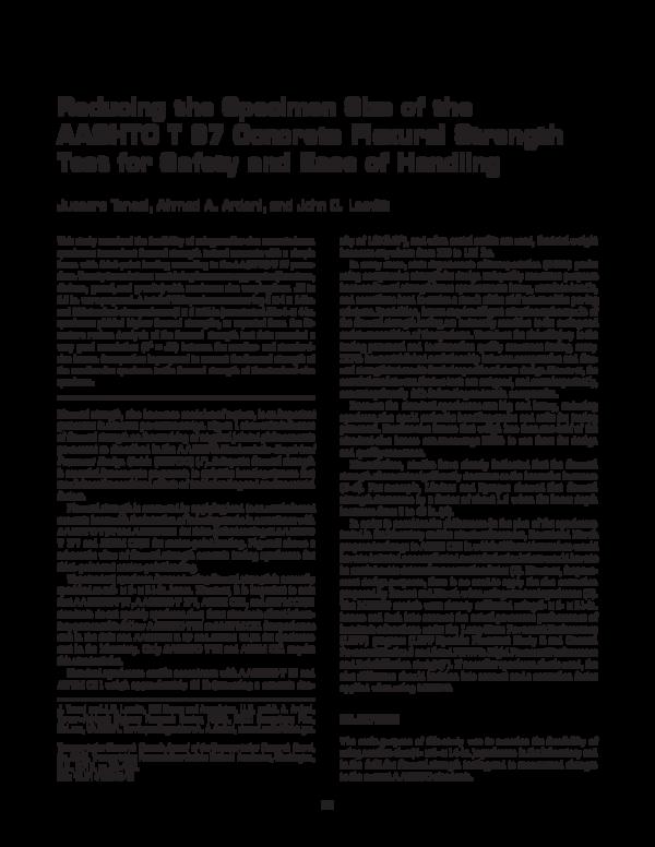 PDF) Reducing the Specimen Size of the AASHTO T 97 Concrete