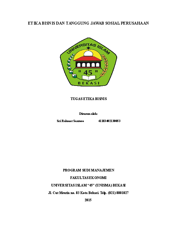 Doc Etika Bisnis Dan Tanggung Jawab Sosial Perusahaan Tugas Etika Bisnis Dwi Prastiyo And Santoso Rahmad Academia Edu