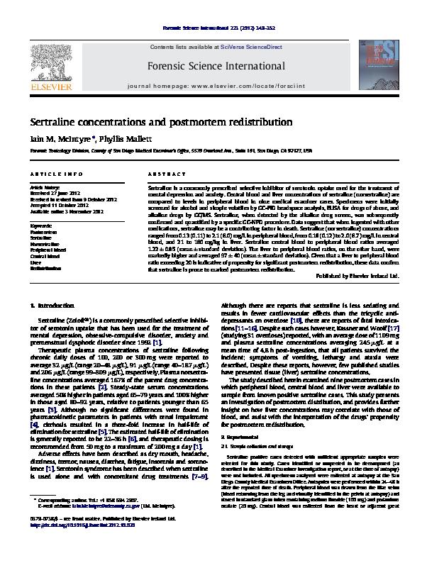 (PDF) Sertraline concentrations and postmortem