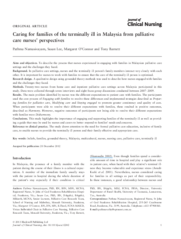 PDF) Caring for families of the terminally ill in Malaysia
